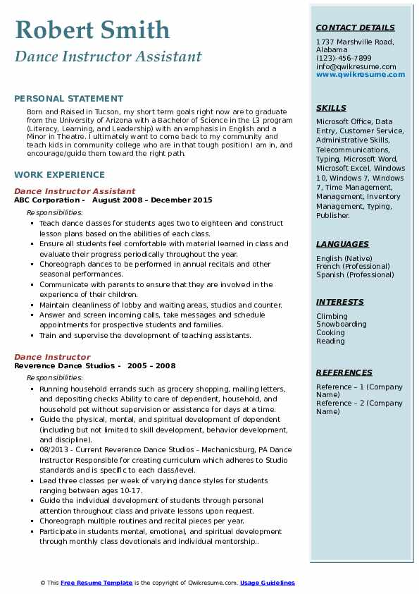 Dance Instructor Assistant Resume Format
