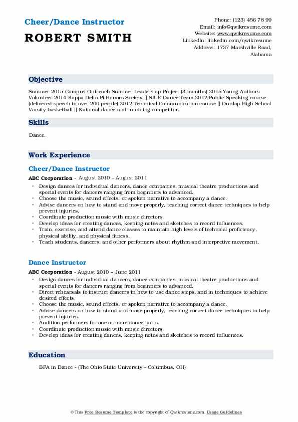 Cheer/Dance Instructor Resume Example