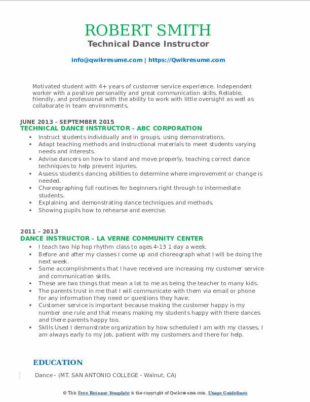 Technical Dance Instructor Resume Model