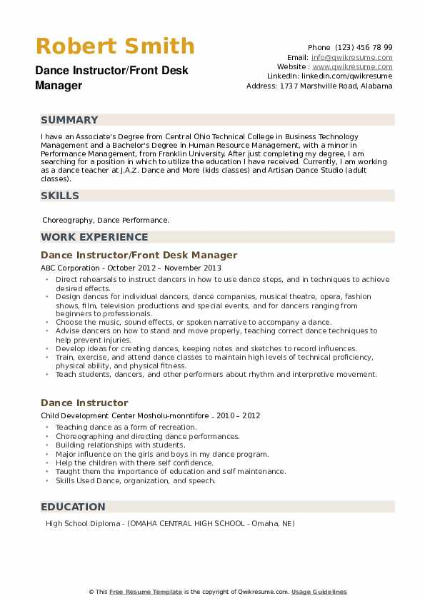 Dance Instructor/Front Desk Manager Resume Format