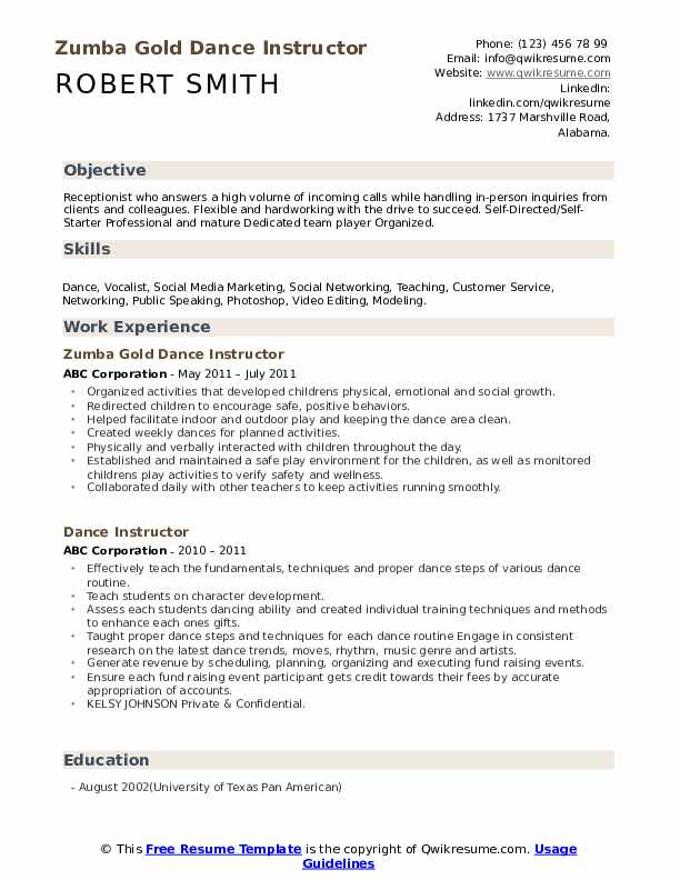 Zumba Gold Dance Instructor Resume Model