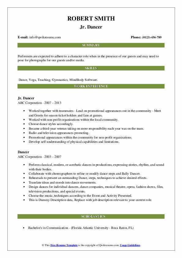 dancer resume samples  qwikresume