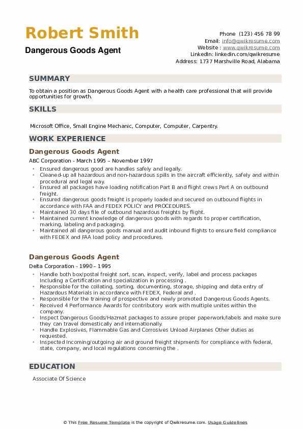 Dangerous Goods Agent Resume example