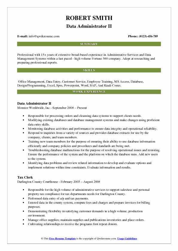 Data Administrator II Resume Model