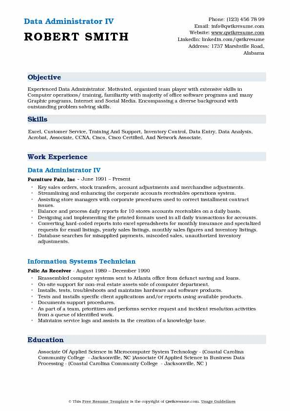 Data Administrator IV Resume Example