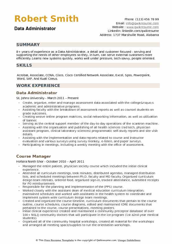 Data Administrator Resume example