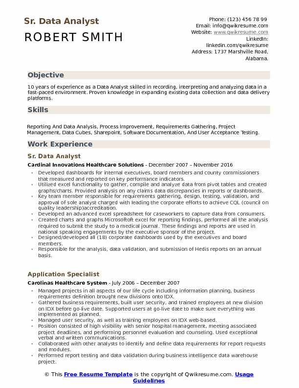Sr. Data Analyst Resume Example