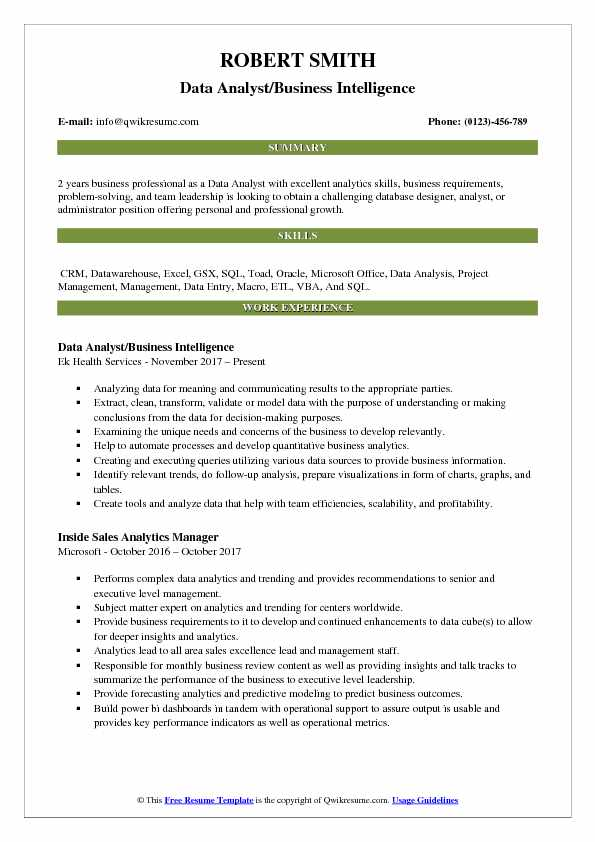 Data Analyst/Business Intelligence Resume Example