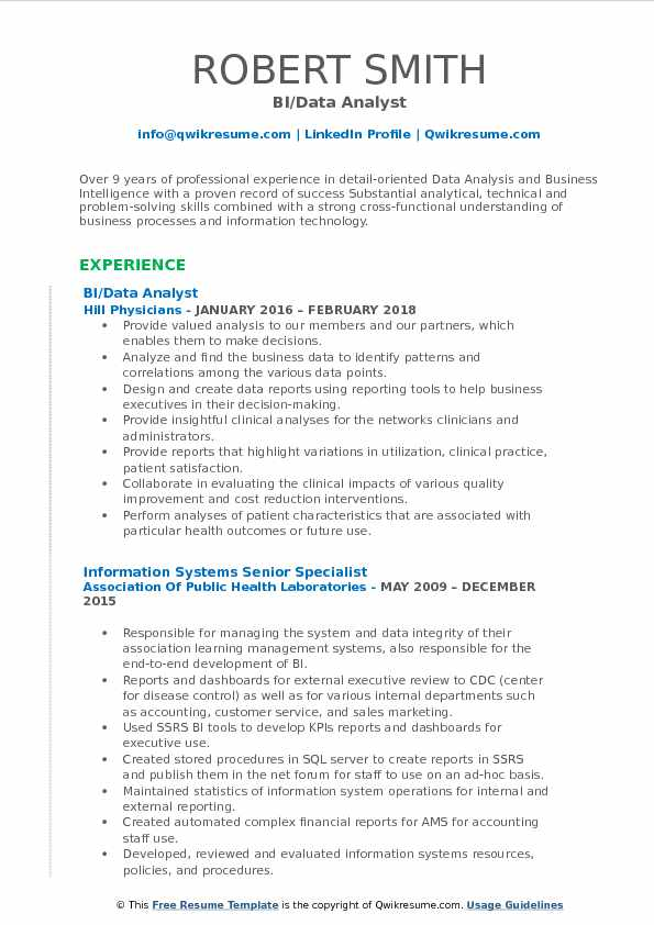 BI/Data Analyst Resume Sample