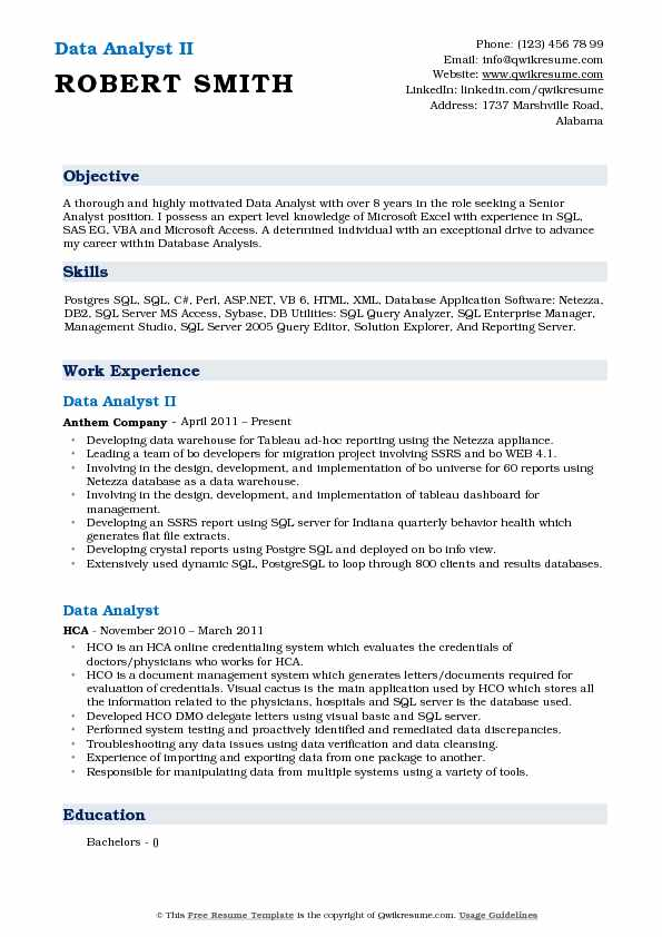 Data Analyst II Resume Example