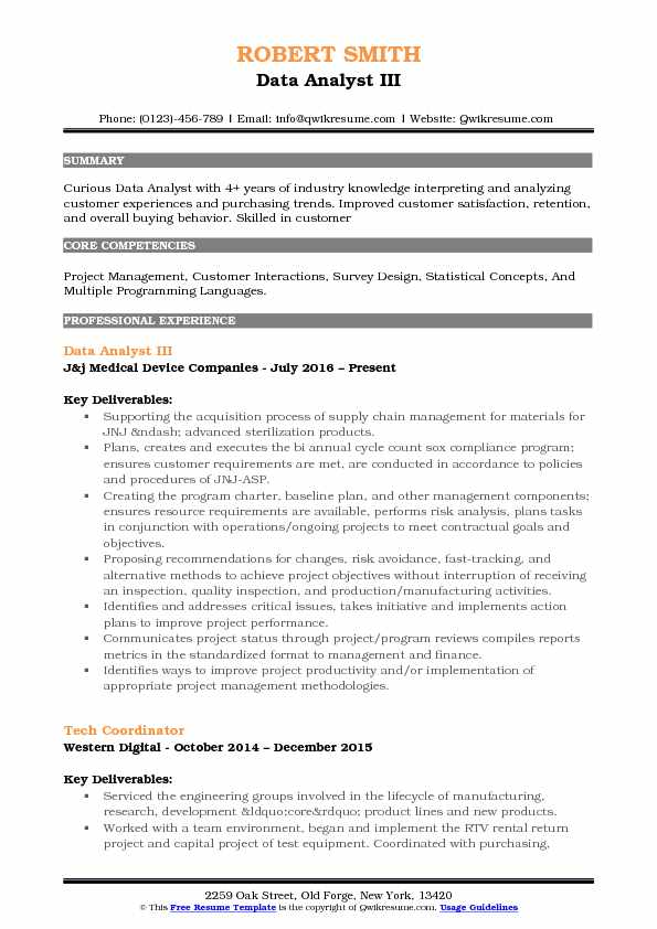 Data Analyst III Resume Model