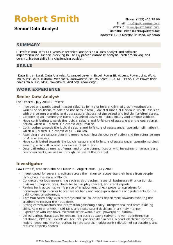 Senior Data Analyst Resume Template