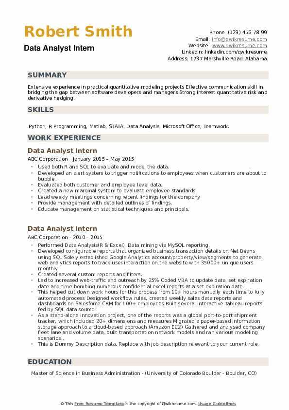Data Analyst Intern Resume example