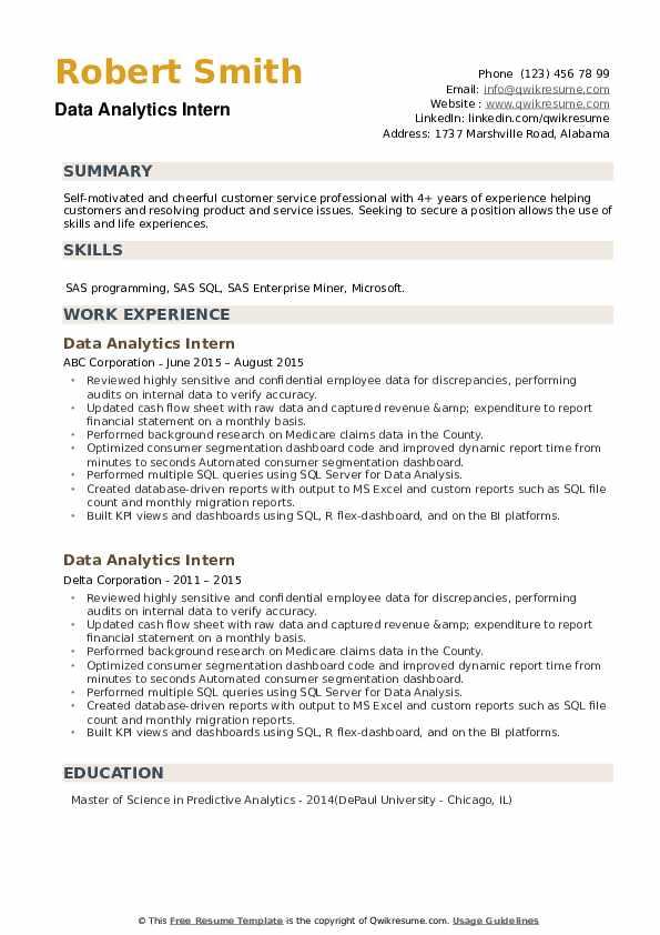 Data Analytics Intern Resume example