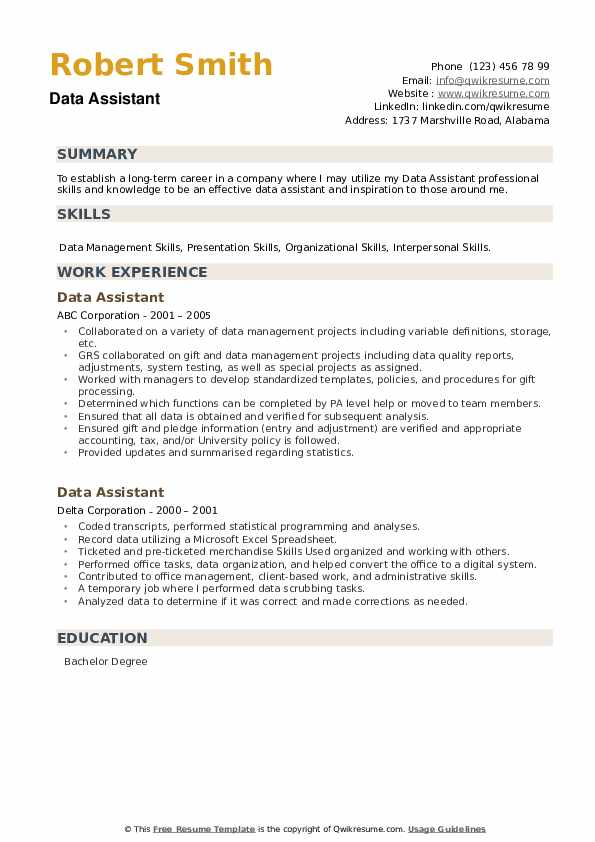 Data Assistant Resume example
