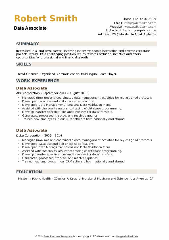 Data Associate Resume example