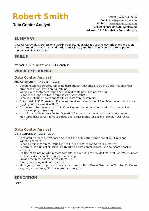 Data Center Analyst Resume example