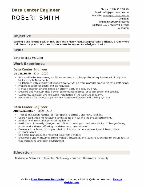 Data Center Engineer Resume example