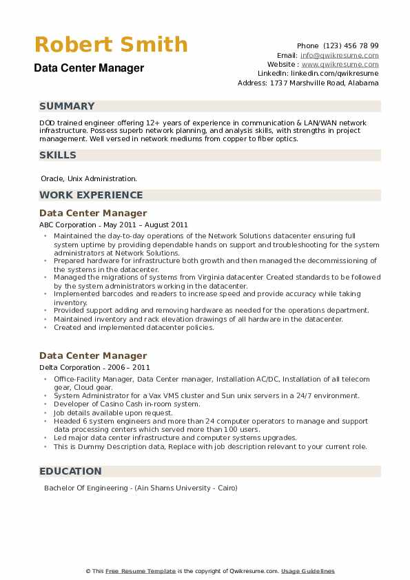 Data center construction manager resume help with  top custom essay on presidential elections