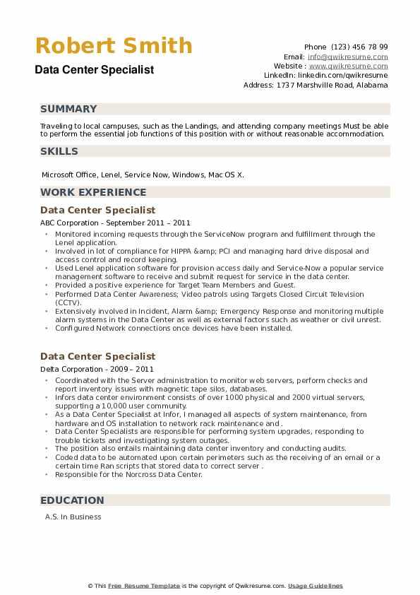 Data Center Specialist Resume example
