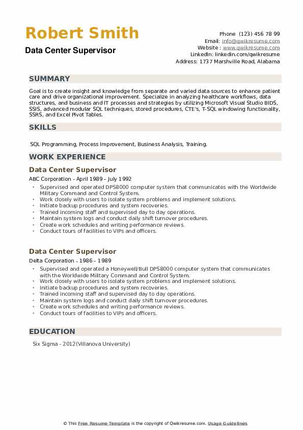 Data Center Supervisor Resume example