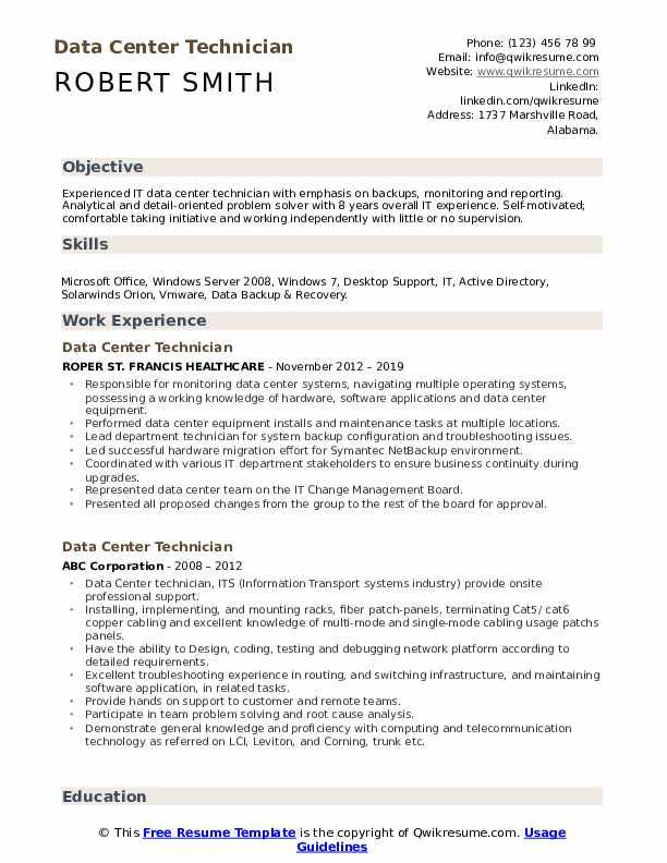 data center technician resume samples
