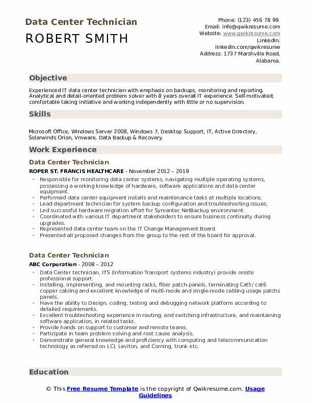 Data Center Technician Resume Template