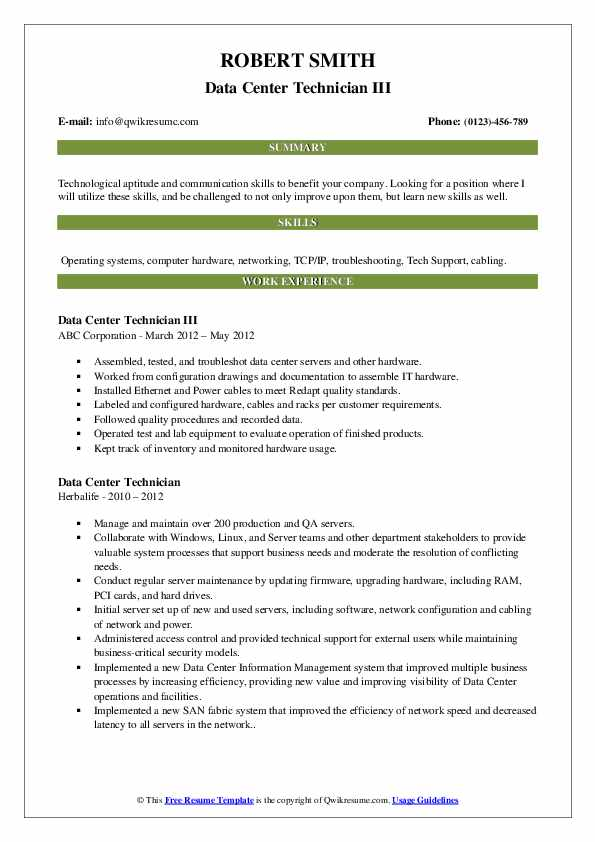 Data Center Technician Resume Samples Qwikresume
