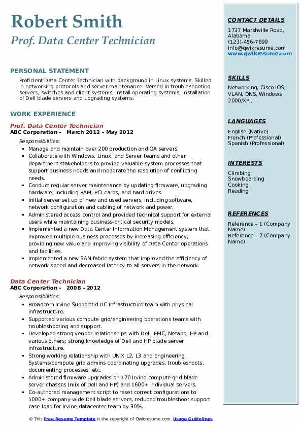 Prof. Data Center Technician Resume Sample