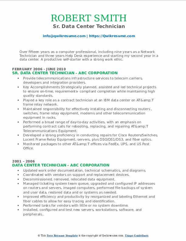 Sr. Data Center Technician Resume Model