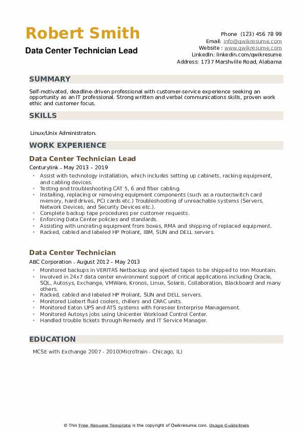 Data Center Technician Lead Resume Example