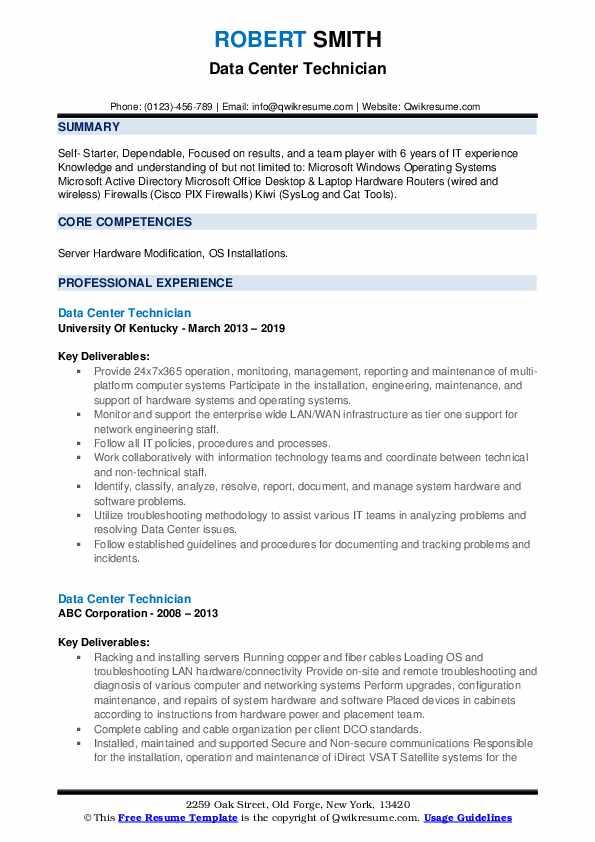 Data Center Technician Resume example
