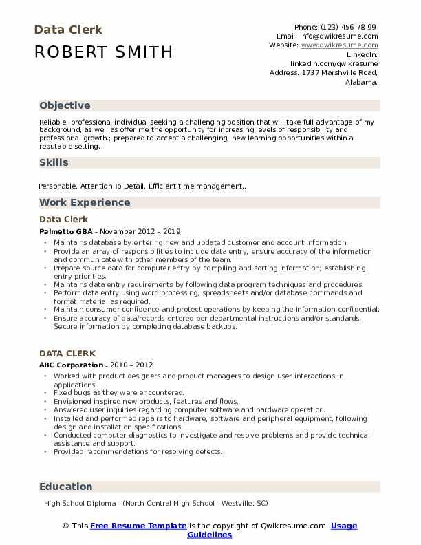 Data Clerk Resume Example