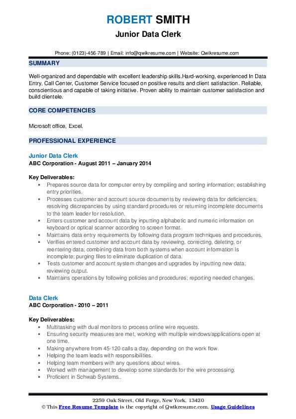 Junior Data Clerk Resume Sample