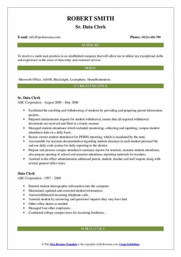 Sr. Data Clerk Resume Example