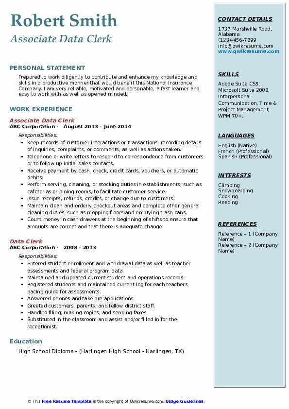 Associate Data Clerk Resume Example