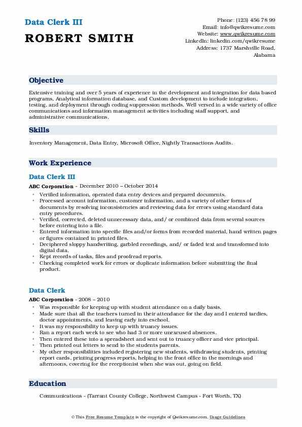 Data Clerk III Resume Sample