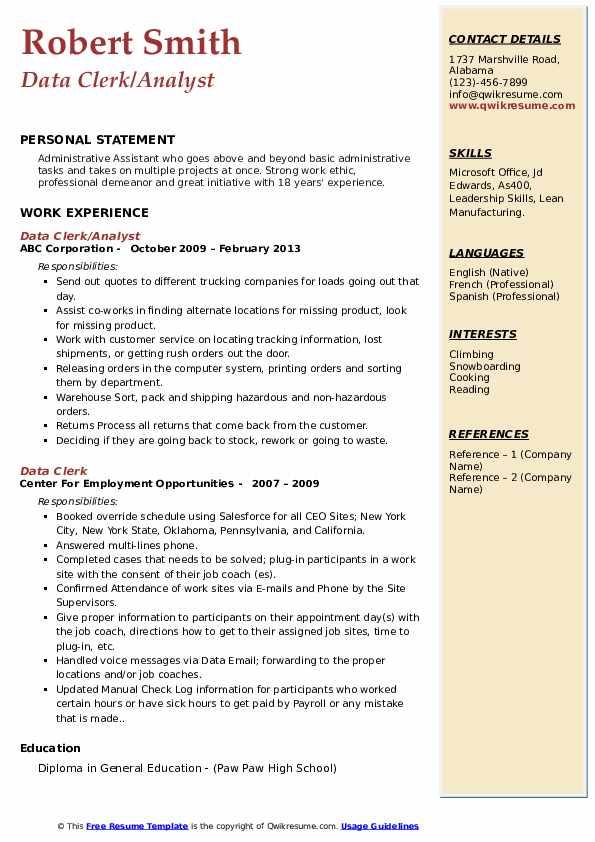 Data Clerk/Analyst Resume Example