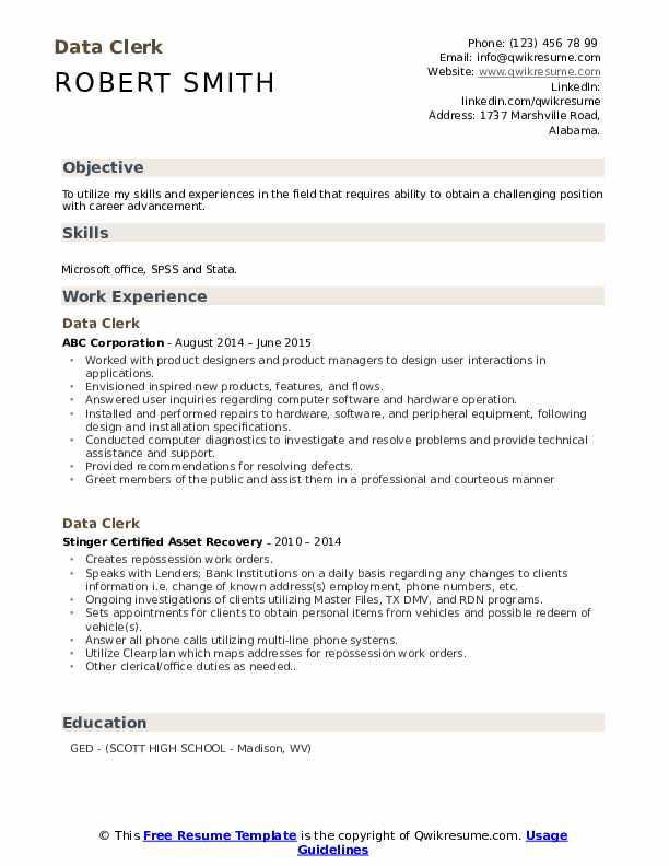 Data Clerk Resume example