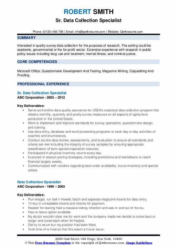 Data Collection Specialist Resume Samples Qwikresume