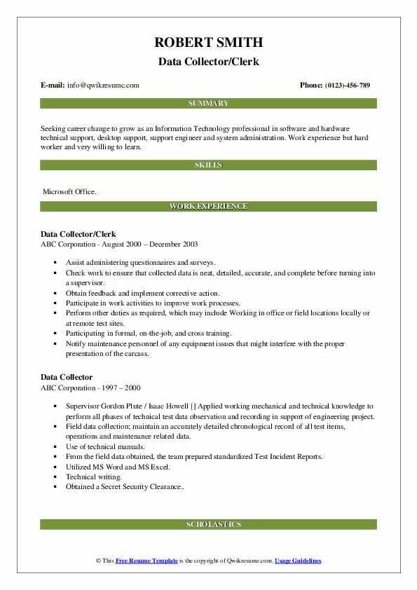 Data Collector/Clerk Resume Format
