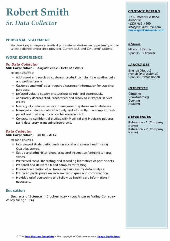 Sr. Data Collector Resume Example
