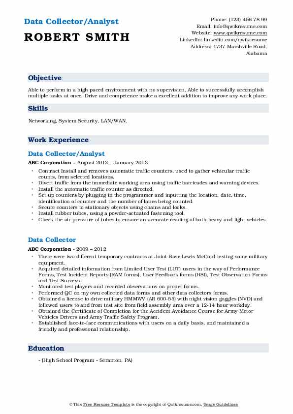 Data Collector/Analyst Resume Sample