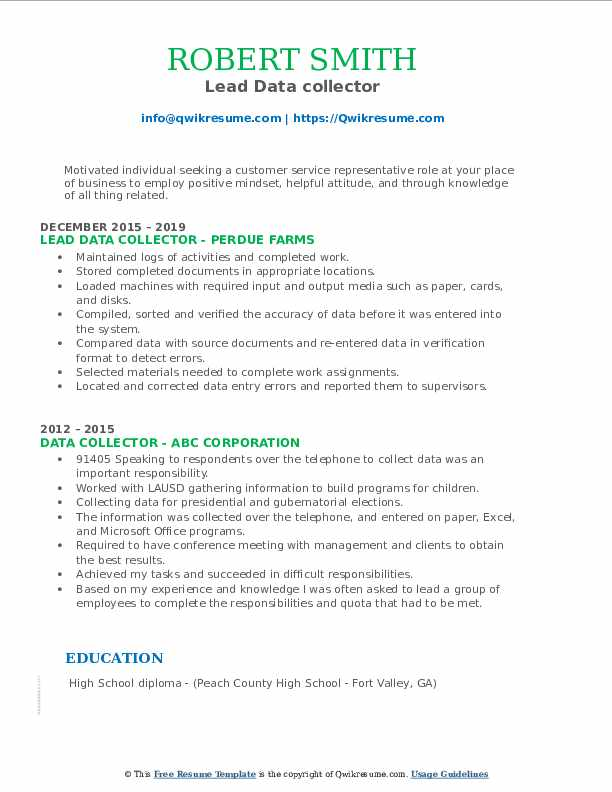 Lead Data collector Resume Format