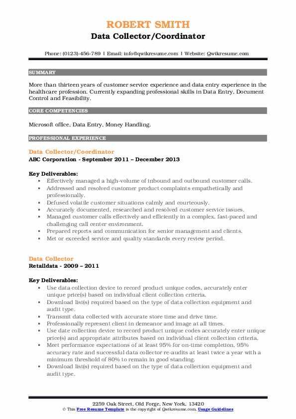 Data Collector/Coordinator Resume Format