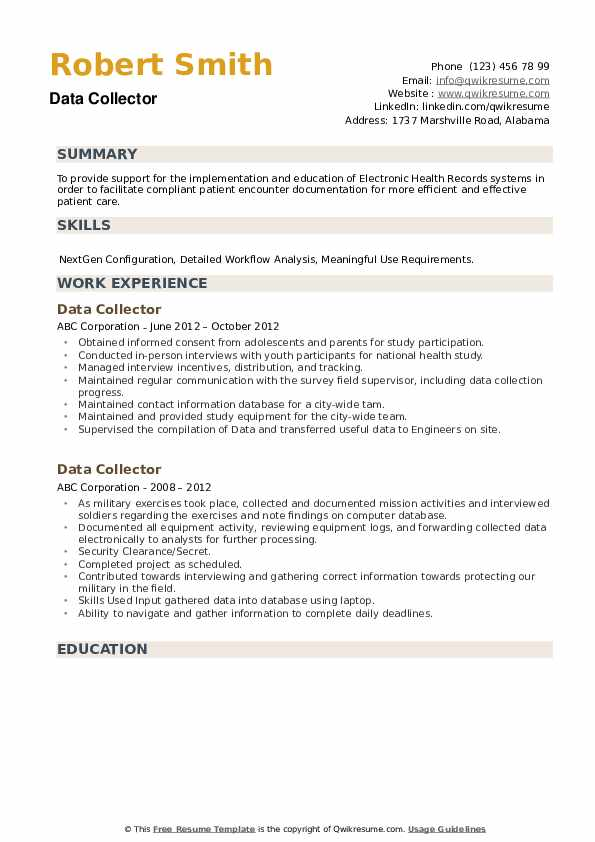 Data Collector Resume example