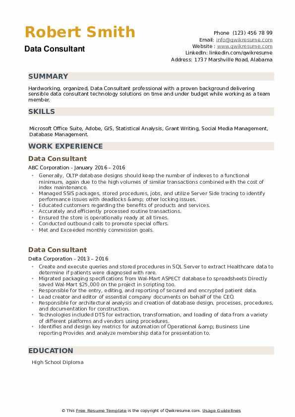 Data Consultant Resume example