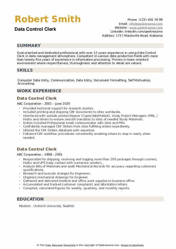 Data Control Clerk Resume example