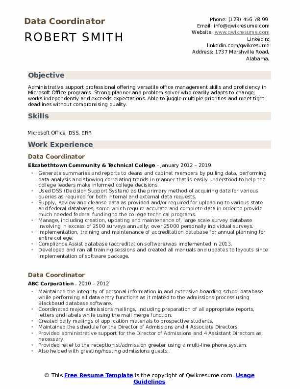 Data Coordinator Resume Model