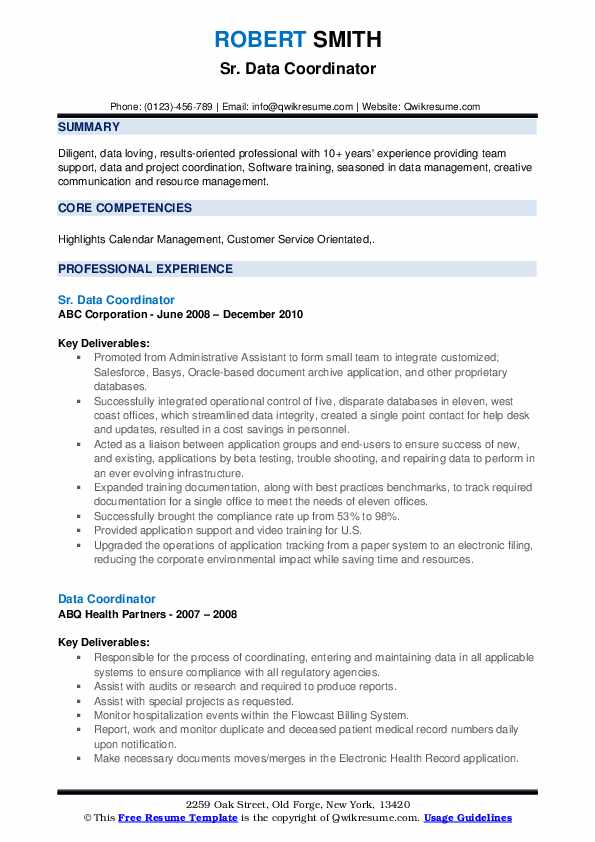 Sr. Data Coordinator Resume Model